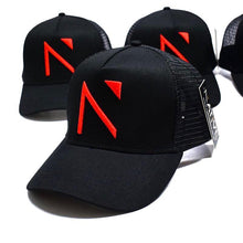 The Black and Red Signature 'N' Mesh Trucker Cap
