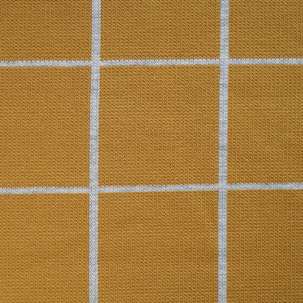 "Jersey-jacquard ""grid"" moutarde 