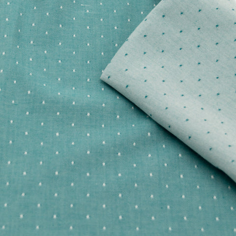 Chambray à pois turquoise | 10 cm