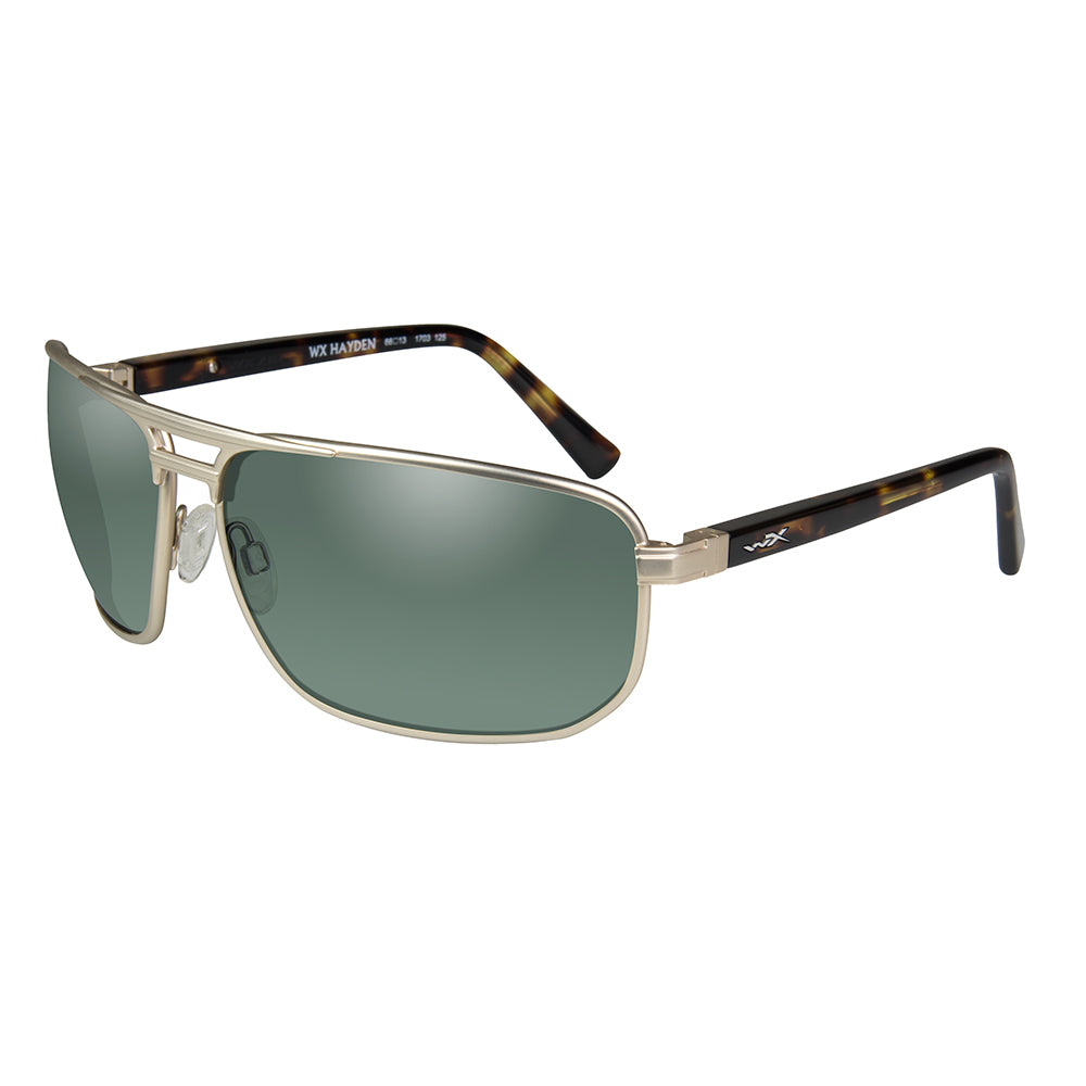 8156c9184613 Wiley X Hayden Sunglasses - Polarized Green Lens - Satin Gold Frame  [ACHAY04]
