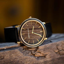The Minimalist - Ebony/Gold/Black Leather Band/...
