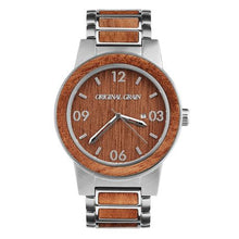 The Barrel - Brushed Silver/Mahogany/Wood Dial ...