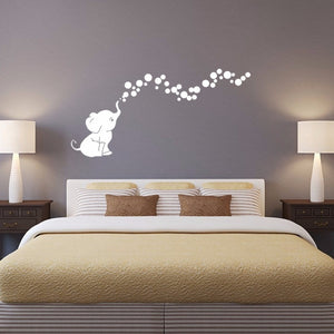 Cutie Elephant Bubbles Wall Decal Vinyl Wall Nursery Room Decor Gift