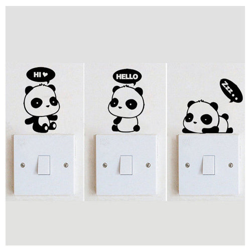 3 Pcs PVC Cute Panda Switch Stickers Wall Stickers Cartoon Bedroom Home Decoration Removable Decal Wall Murals Decor