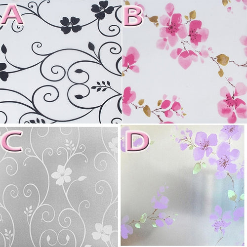 Flower Window Stickers,45*100cm Home Bathroom Window Glass Self Adhesive  Sticker Static Cling Waterproof Frosted Window Film