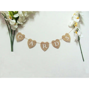 Cards Hessian Bunting Banner Heart Rustic Wedding Decor