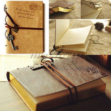 1 Pc PU Leather Retro Vintage Bound Blank Pages Journal Diary Notebook Sketchbook Notebooks Office Supplies Fashion Accessories(