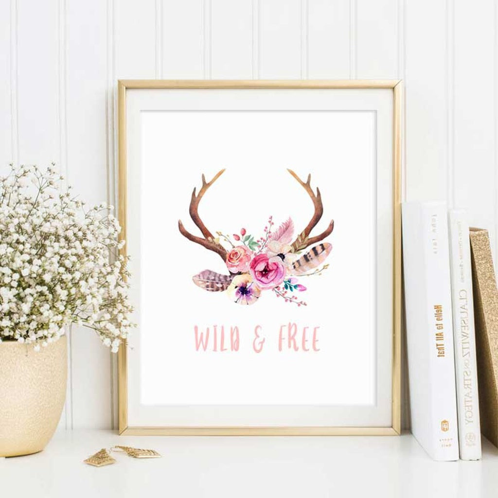 Deer Antler Wild and Free Animal Nursery Pink Wall Art Wall Poster Watercolor Flower Painting Nordic Kids Room Art Decal Letter