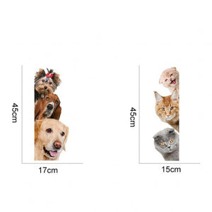 1 Piece with 4 Patterns Funny Cute Cat Dog Switch Stickers Wall Stickers Home Decoration Bedroom Parlor Decoration