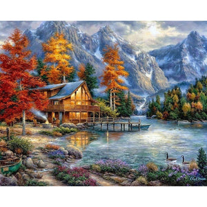 "Full Square Diamond 5D DIY Diamond Painting ""house Scenic"" Embroidery Cross Stitch Rhinestone Mosaic Painting Home Decor Gift"