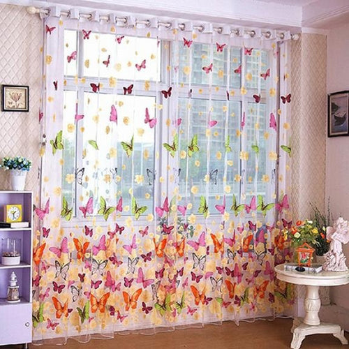 Stylish Butterfly Printed Tulle Voile Home Door Window Balcony Curtains for Living Room