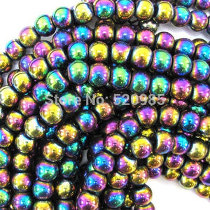 "Non magnet Natural Stone Black/Gold/Silver/Rainbow Hematite round Beads 4 6 8 10 MM 16"" Per Strand"
