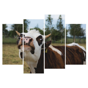 Wall Art Canvas Painting:Cow Staring at You,Unframed Funny Home Decor