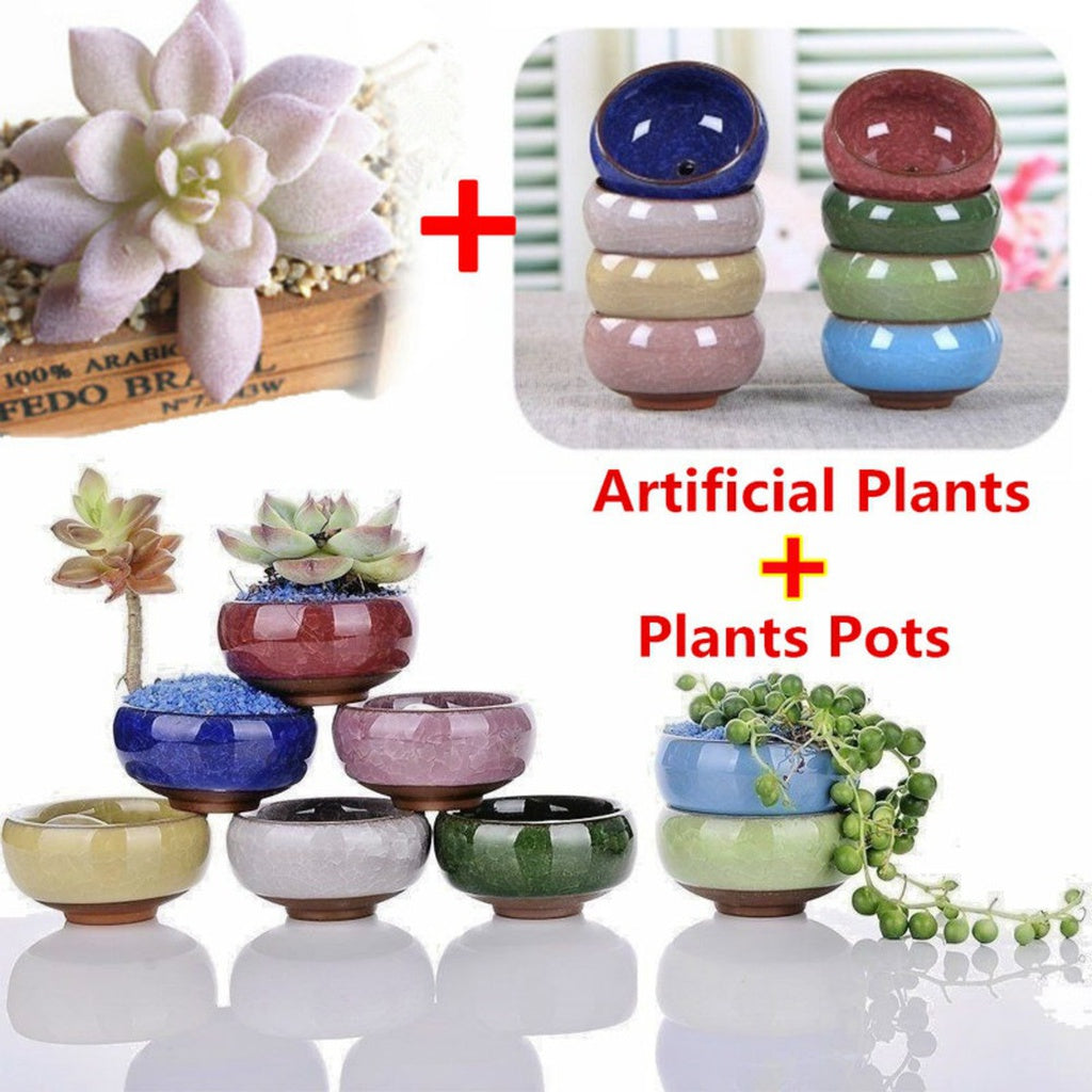1 Set Miniature Decoration Artificial Succulents Plant + Plants Pots DIY Home Floral Decor