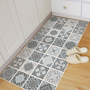 Funlife Blue&grey Mediterranean Pattern Geometry Removable Anti-slip Floor Stickers Art Decal Home Room Bathroom DIY Decor