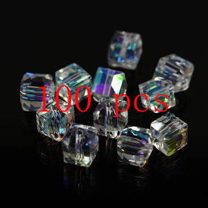100 pieces exquisite 2/4/6 mm Cube Swarovski crystal beads for Jewelry marking DIY necklace&Bracelet