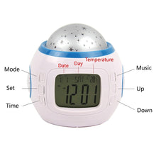 Sky Star Children Baby Room Night Light Projector Lamp Bedroom Music Alarm Clock (Batteries not included)