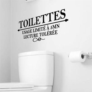 French Letters Toilettes Wall Stickers Toilet Decals Bathroom Mural Art Posters for WC
