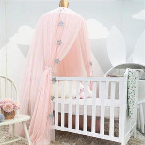 Kids Bedroom Girl Princess Elegant Lace Bedding Round Dome Bed Canopy Cotton Linen Mosquito Net Curtain Room Decor