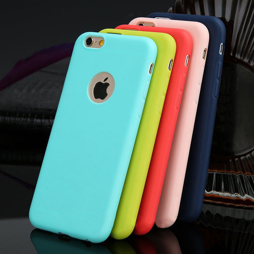 Case For iPhone 5/5se 6/6S Plus 7/7 Plus Candy Colors Soft TPU Silicon Phone Cases For iPhone 6 7 Plus Coque With Logo Window