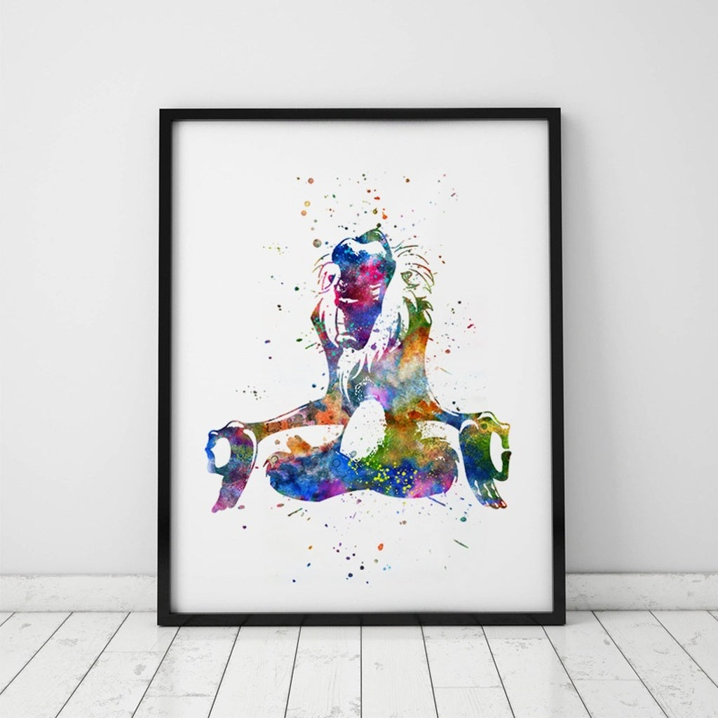 The Lion King Wall Art Rafiki Meditation Pose Nursery Watercolor Art Print Kids Bedding Room Rafiki Wall Decal Painting Pictures