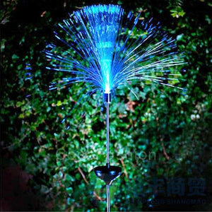 New Color Changing Fiber Optic LED Solar Powered Light Outdoor Garden Lamp   CFC