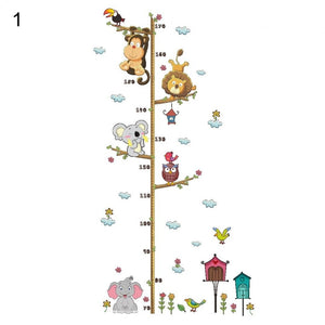 New Cartoon Elephant Lion Zoo Height Measurement Stickers Children's Room Wall Decoration Wall Stickers (Size: as the picture s