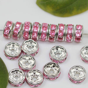 100Pcs Czech Crystal Rhinestone Glass Round Loose Spacer Beads 8mm