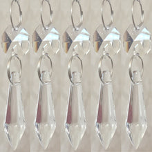 10PCS CLEAR 38MM CHANDELIER GLASS CRYSTALS LAMP PRISMS PARTS TEARDROP SILVER