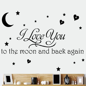Moon and Star Random Color Art Vinyl Quote Wall Stickers Decal Mural Home Kids Decor Family DIY Removable