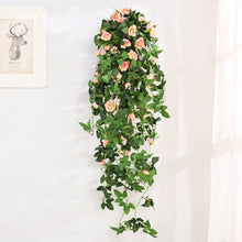 2.45 M Beautiful Artificial Rose Flowers Green Ivy Vine Garland Fake Spring Artificial Garden Decor Wedding Party Supplies Photo