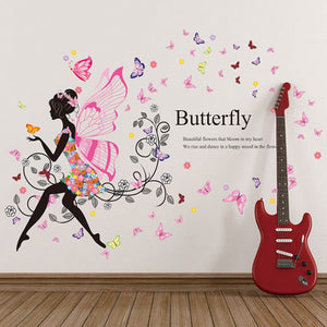 1pc Girl & Flower Fairy Butterfly Removable Wall Art Sticker Vinyl Decal DIY Room Home Decor