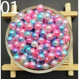 New 4mm 6mm 8mm Rainbow color Round Acrylic Pearl Loose No hole Beads Jewelry Making