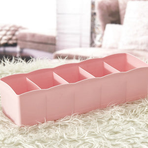 5 Cells Plastic Organizer Storage Box Tie Bra Socks Drawer Cosmetic Divider Tidy High Quality