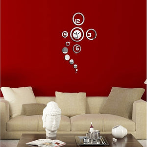 Best Faddish  Decoration Room Clock Mirror Wall Wall Clock Personalized Clock Accessory Diy Clock Living 3d Personalized