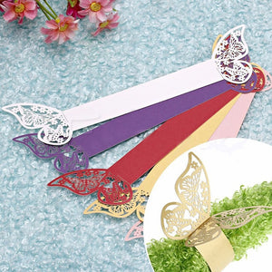 10Pcs/Set Laser Cut Vine Butterfly Paper Napkin Rings Holders Favors and Gifts Party Wedding Invitations Decorations