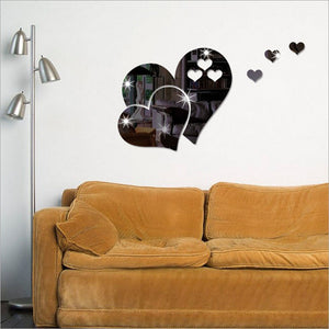 3D Mirror Love Hearts Wall Sticker Decal DIY Home Decoration Accessories Room Art Mural Decor Removable Sticker Home & Living Wa