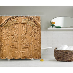 Egyptian Hieroglyphics on the Wall Stone Surface Scripts Picture, Polyester Fabric Bathroom Shower Curtain, Beige Ecru Ivory  69
