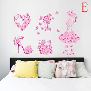 creative high heels shoes butterfly wall stickers room decals home decor