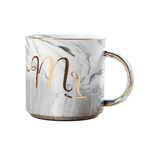 Beautiful Marbel Pattern Ceramic Water Mug Letter Printed Coffee Cup for Home Office Best Gift for Lovers