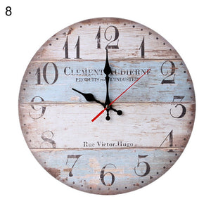 Wonderful Creative Retro Wooden Round Analog Wall Clock Living Room Bedroom Bar Decor Gift