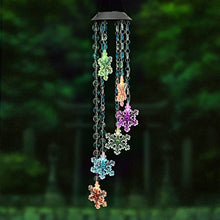 Changing Color Snowflake+Bead Wind Chime, AceList Spiral Spinner Windchime Portable Outdoor Decorative Romantic Windbell Light f