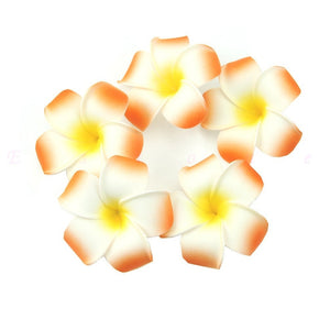 10Pcs 7CM EGG Flowe Plumeria Hawaiian Foam Frangipani Flower Artificial Silk Fake r For Wedding Party Decoration