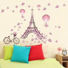 Butterfly Flower Eiffel Tower Hot Air Balloon Girls Bedroom Decoration Living Room Wall Stickers Home Decor Decal Art Mural Post