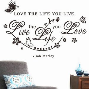 Bob Marley Quote Love The Life You Live Live The Life You Love Quote Wall Decal Butterfly Flower Wall Stickers Home Decor Words
