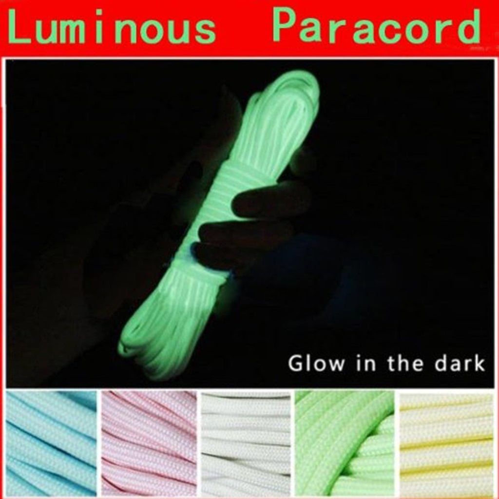 20FT 6 Meters Luminous Nylon Paracord Glow In The Dark 550LB 9 Strands Survival Lanyard Rope (Green Blue Pink Yellow White)