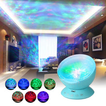 Multicolor Ocean Wave Light Projector Nightlight with Mini Music Player for Living Room And Bedroom Novelty Baby Lamp Blue