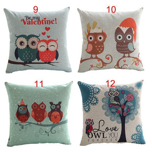 18x18 Inches Music Owl Love Cotton Linen Square Pillowcase Cushion Cover Valentine's Day Pillowcase Home Decor