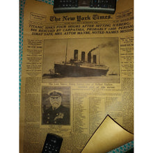 New York Times Historic Moment Titanic Kraft Paper Poster Wall Art