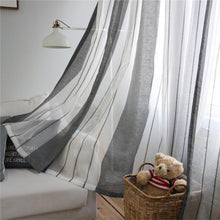 Unique Stripe Window Curtain Punching Hole Panel Bedroom Decor